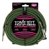 Ernie Ball 10' Braided Straight Angle Inst Cable Black Green - P06077