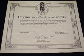 Chet Atkins signed Guitar Certificate from 1993