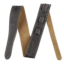 Fender Road Worn Distressed Leather Guitar Strap - Black