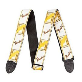 Fender Guitar Strap Monogrammed (2 Inch) - White/Brown/Yellow