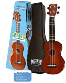 Mahalo Rainbow Series Soprano Ukulele Starter Pack  - Brown Natural