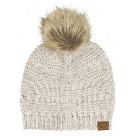 Fender Leather Patch Pom Pom Beanie - Tan