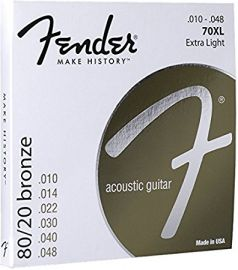 Fender Bronze Acoustic Strings, Ball End, 70XL - Gauge .010 - .048