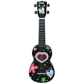 Mahalo Soprano Black Heart Ukulele with Carry Bag