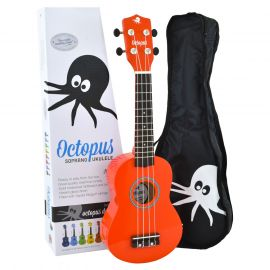 Octopus Soprano Ukulele - Red - Inc Bag